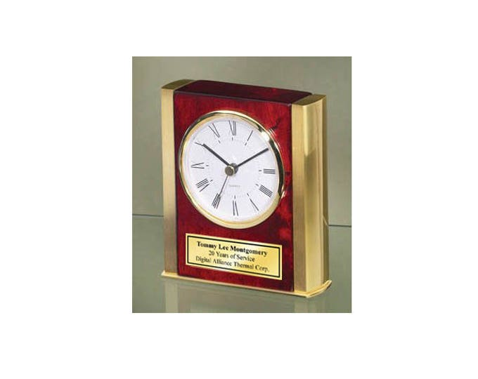 Anniversary Retirement Gift Desk Clock Twin Gold Brass Sides Wood Base Personalized Engraved Employee Service Award Birthday Service Award