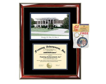 University of New Orleans diploma frames lithograph UNO frame campus image sketch certificate framing graduation degree case document holder