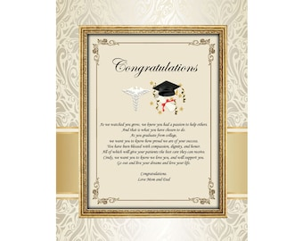 Dental Pharmacy Medical School Graduation Gift Doctor Physician Congratulation Graduate Poem 11x14 Unframed Matted Printed Present