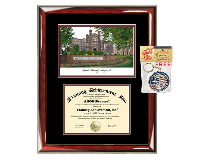 Marshall University diploma frames lithograph Marshall frame campus image sketch certificate framing graduation degree case holder gift