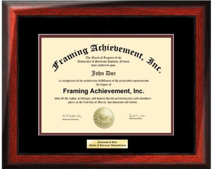 Diploma Frame University Diploma Plaques Certificate Frames Framing Diplomas Top mat Black Inner matted Maroon Satin Rich Mahogany Gifts