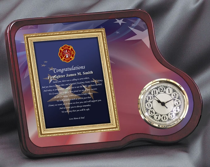Fire Academy Graduation Gift Present Mahogany Poetry Clock Fire School Grad Fireman Poem Clock Congratulations