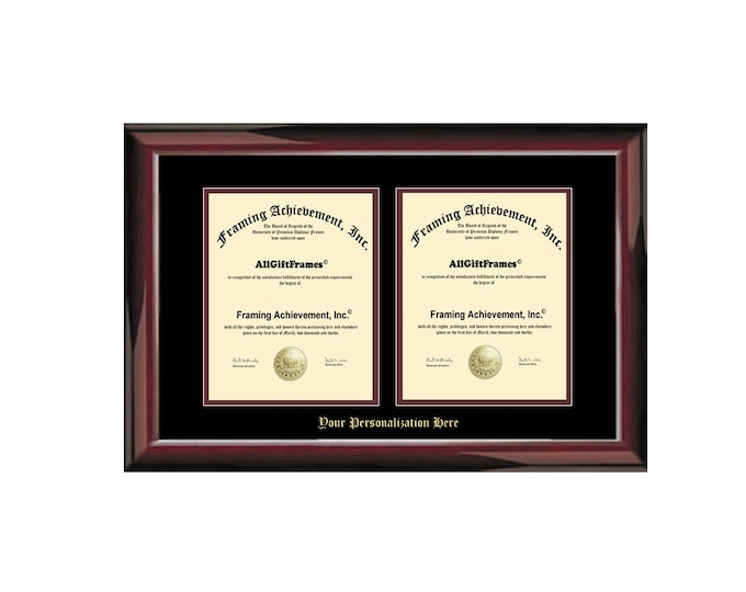 Double University Diploma Frame Portrait Degree Frames Embossed Two Vertical Document Glossy Mahogany College Framing