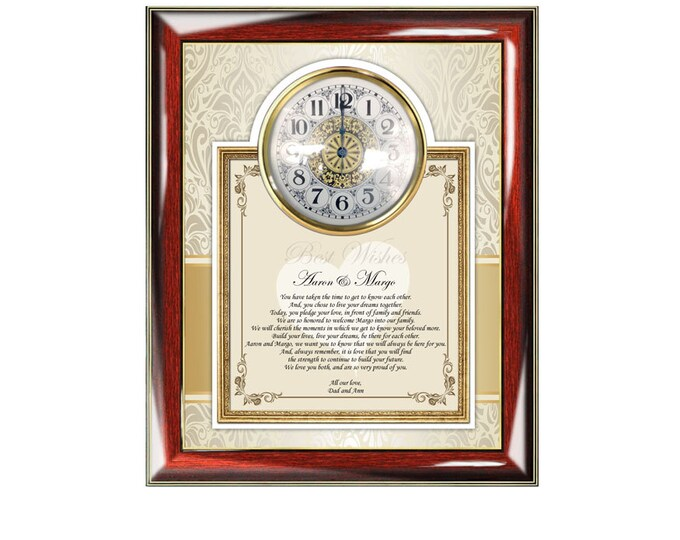 Bride Daughter Son Groom Wedding Gift from Parents Congratulation Personalized Wedding Gift Poem Clock Mom Dad