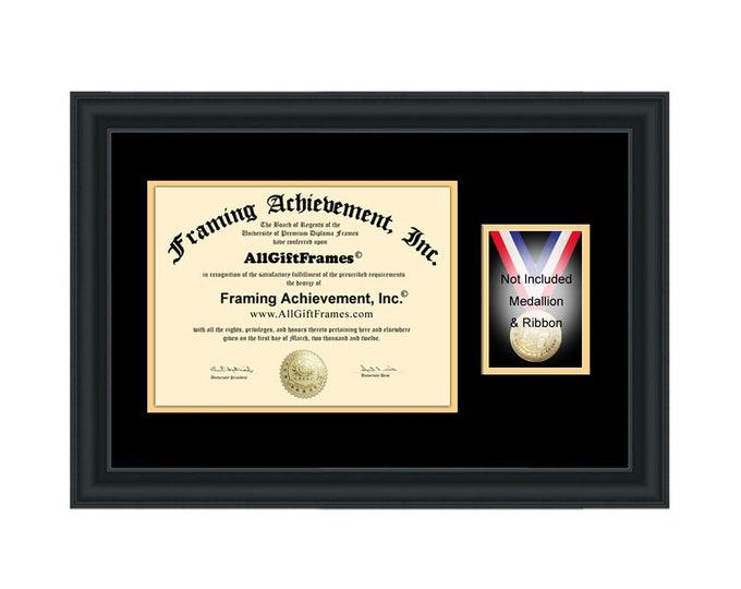 College High School Honors Military University Medallion Case Ribbon Diploma Frame Certificate Medallion Framing Graduation Degree Medal Box