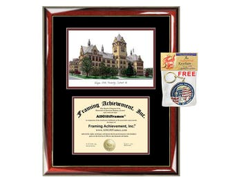 Wayne State University diploma frames lithograph frame WSU campus sketch framing Wayne graduation degree gift college plaque certificate