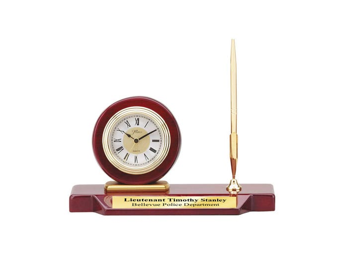 Engraved Single Pen Set Clock Cherry Wood Base Personalized Retirement Executive Graduation Coworker Boss Service Award Promotion Colleague