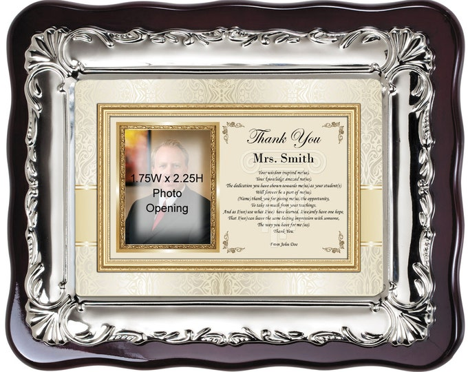 Thank you school teacher gift from student. Personalized picture frame for professor, mentor, coach and educator. Photo frame with poetry