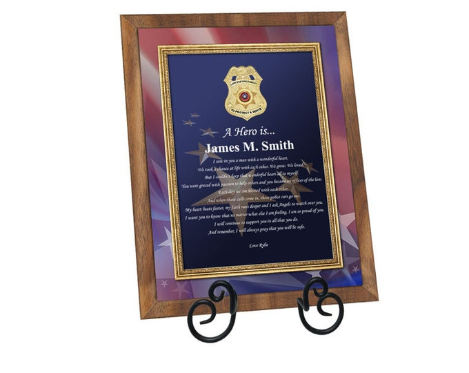 Law Enforcement Police Officer Sheriff Deputy Gift of Poetry Plaque Love Poem Boyfriend Husband Present