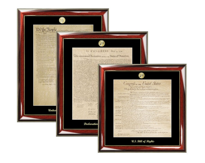 Constitution, Bill of Rights, Declaration Independence Frame Set Print Gold Embossed Logo Plaque Law Gifts Replica Lawyer Attorney School