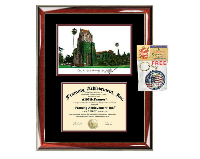 SJSU diploma frames lithograph San Jose State University degree frame campus image certificate framing graduation gift college plaque grad