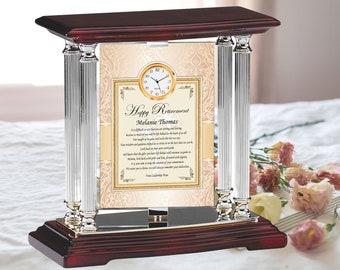 Custom Retirement Present Mini Clock Silver Metal Engrave Desk Clock Swivel 360 Degrees Coworker Friend Colleague Retiree Gift Thoughtful