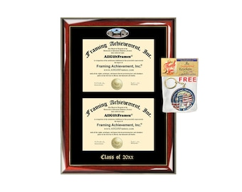 George Washington University Double Diploma Display GWU Campus Fisheye Photo Two School Major Certificate Frame Emboss Diploma Display Case