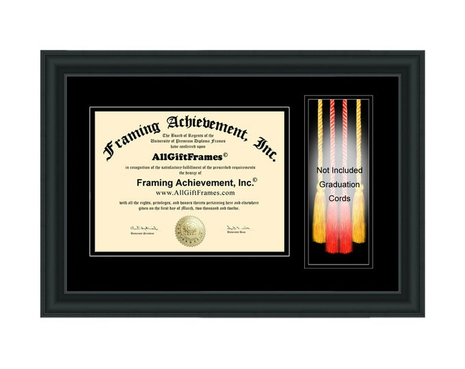 Graduation Cord Box Frame University Diploma Frame College Degree Honors Cords Framing Holder Case Certificate Plaque Matte Black Matted