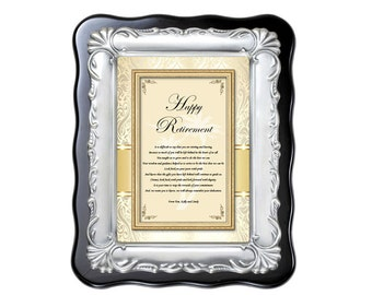 Retirement Gift Best Wishes Farewell Retiring Sayings Poem Brush Silver Designer Desk Plaque for Coworker, Colleague, Boss, Friend