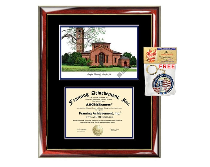 Hampton University diploma frames lithograph frame campus image sketch framing Hampton college graduation degree gift plaque certificate