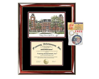 University of Arkansas diploma frame lithograph campus image certificate Arkansas degree frames framing gift graduation lithograph college