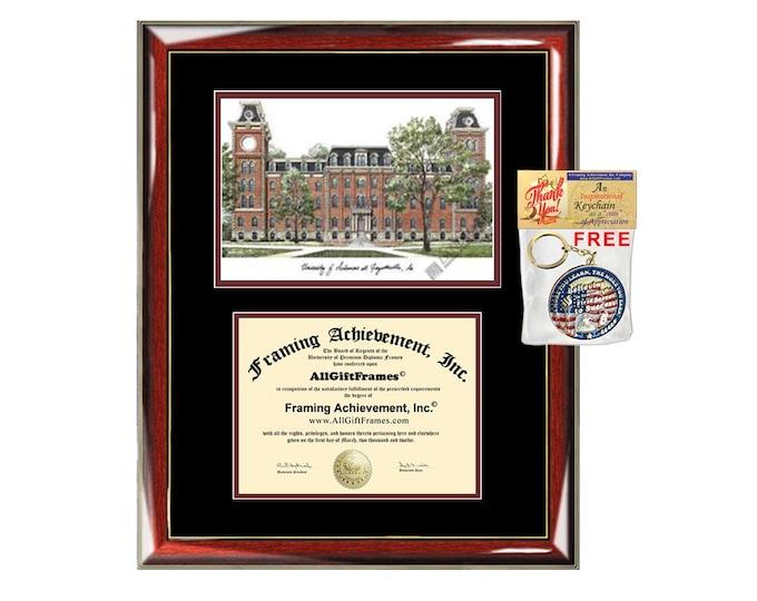 University of Arkansas diploma frame lithograph campus image certificate Arkansas degree frames framing gift graduation lithograph college