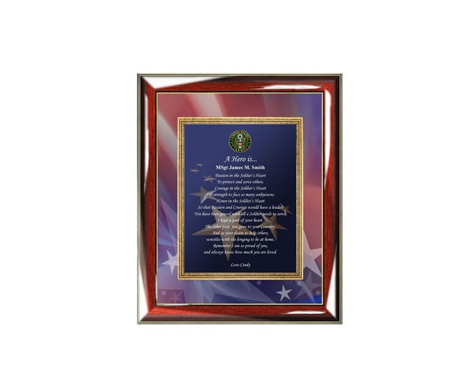 Army Gift Wall Picture Frame Retirement Personalized Poetry Military Gifts Of Poetry Promotion Homecoming Discharge Present