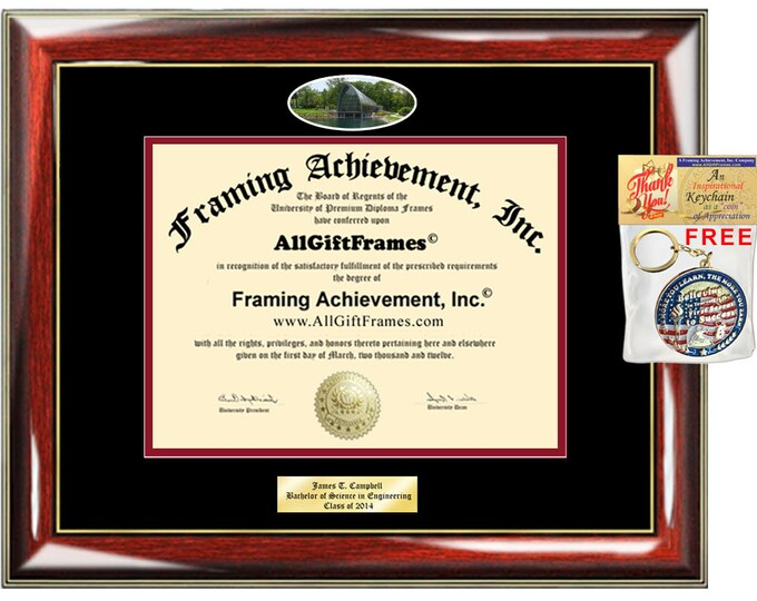 RHIT diploma frame Rose Hulman Institute Technology campus school Personalized Bachelor Master Doctorate phd mba Engrave Holder Case