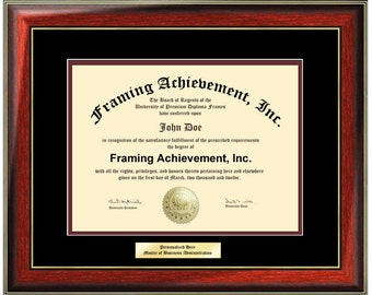 Engraved Certificate Frame College Diploma Frames - Framing Diploma Document Top mat Black Inner matted Maroon SatinMahogany Gold Accents