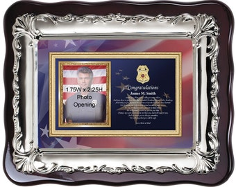 Personalized sheriff police graduation picture frame and police academy photo frame. Police school officer photo frame graduate plaque