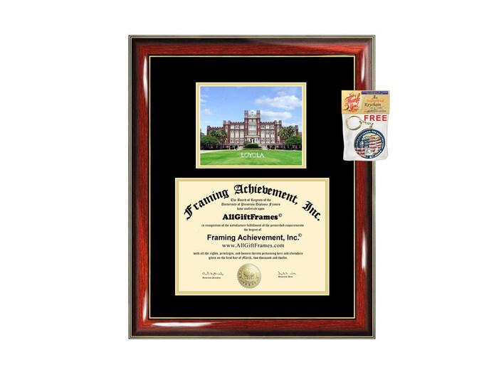 Loyola University New Orleans diploma frame campus picture certificate framing campus photo graduation graduation document college plaque