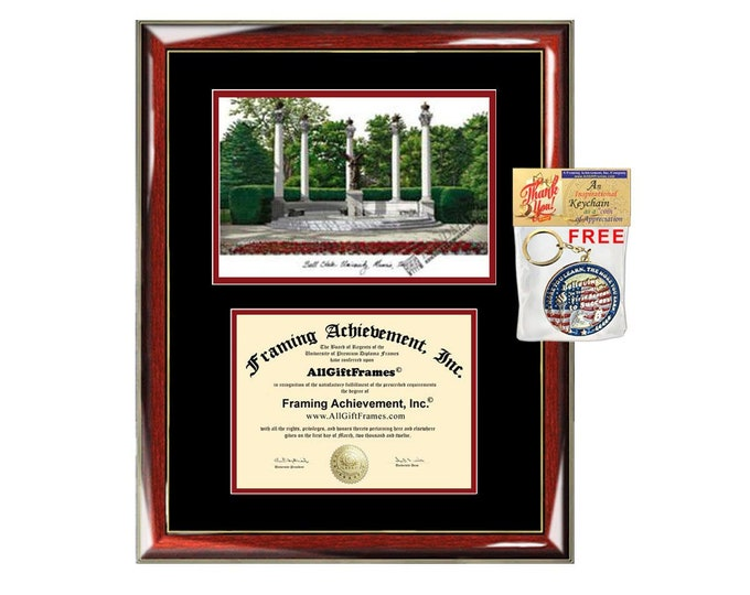 Ball State University diploma frames lithograph BSU degree frame campus image certificate framing graduation gift college plaque graduate