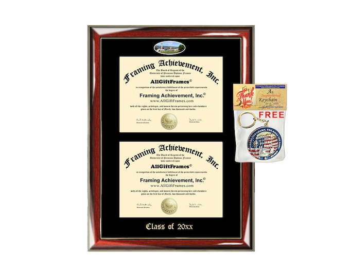 University of California Santa Barbara Double Diploma Display UCSB Campus Fisheye Photo Two School Major Certificate Emboss Frame Holder
