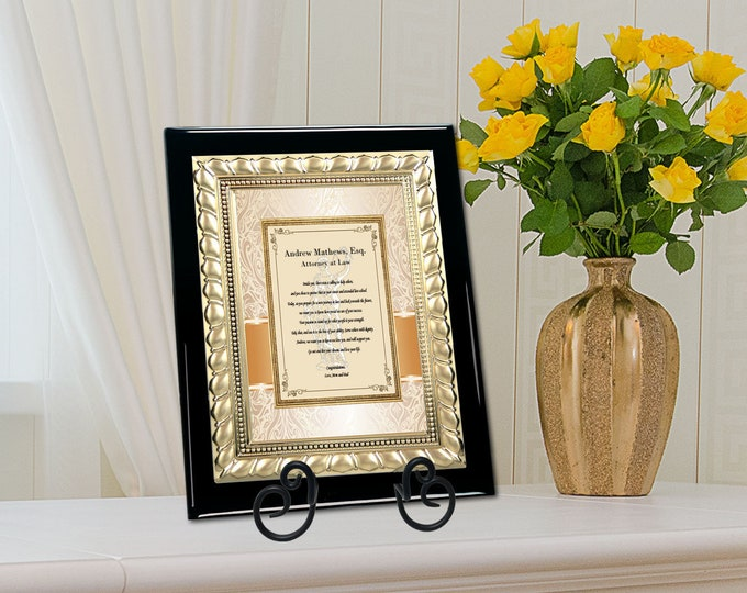 Lawyer Graduation Gift Idea Him Her Law School Congratulation Display Poem Present Attorney Passing Bar Graduate Gold Metal Design Plaque
