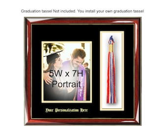Graduation Picture Frame with 5x7 Photo and Graduation Tassel Box Holder Graduate Plaque Case Wall Frame Graduation Gift College University