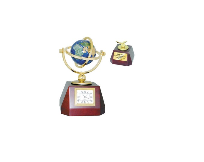 Rotating Color Sphere Globe Clock on Base Gold Engraving Personalized Gift Idea Retirement Anniversary Recognition Employee Service Award