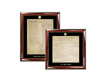 Constitution Frame Replica & Bill of Rights Print Frame Set Gold Embossed with Gold Medallion Logo Law Gifts Attorney Lawyer Graduation Bar