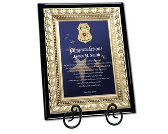 Graduation Police Officer Academy Enforcement Gift Sheriff School Graduate Present Congratulation Plaque Student