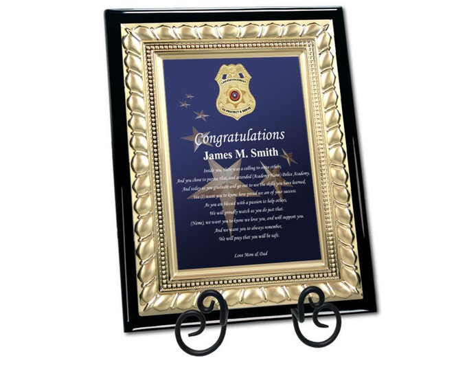 Graduation Police Officer Academy Enforcement Gift Sheriff School Graduate Present Congratulation Plaque Student