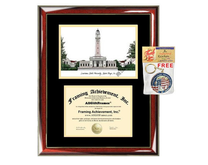 LSU diploma frames lithograph Louisiana State University frame campus sketch framing LSU graduation degree gift college plaque certificate