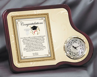 Graduation Gift Clock Mahogany Poetry Floral Clock College Or High School Congratulations Present For Graduate From Parents