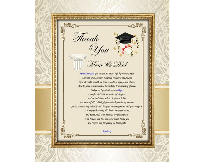 Graduation Thank You Mom Dad Family Poetry Unframed 11x14 Matted Education School Support Present Parents Mother Father