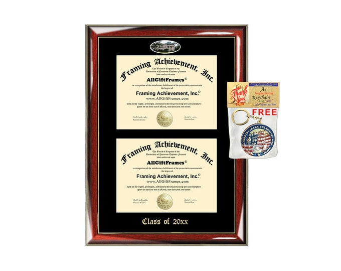 American University Double Diploma Display Frame College School Campus Fisheye Photo Two School Major Certificate Emboss Case Holder