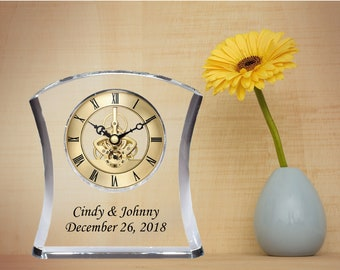 Personalized Crystal Clear Gold Clock Engraved Colorfill Desk Table Shelf Mantel Anniversary Wedding Gift Birthday Retirement Housewarming