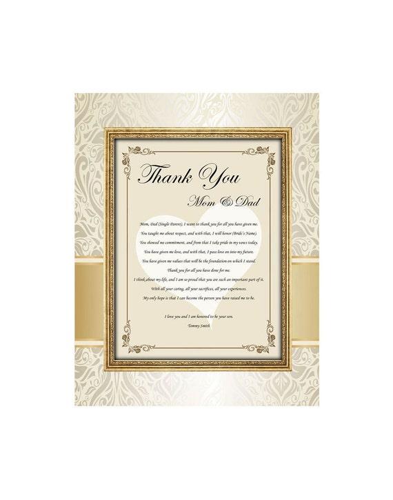 Ich Danke Ihnen Vorliegenden Gedicht Mama Papa Von Braut Bräutigam Ungerahmt 11 X 14 Matt Design Bedruckt Mit Hochzeit Danke Geschenk Poesie Für