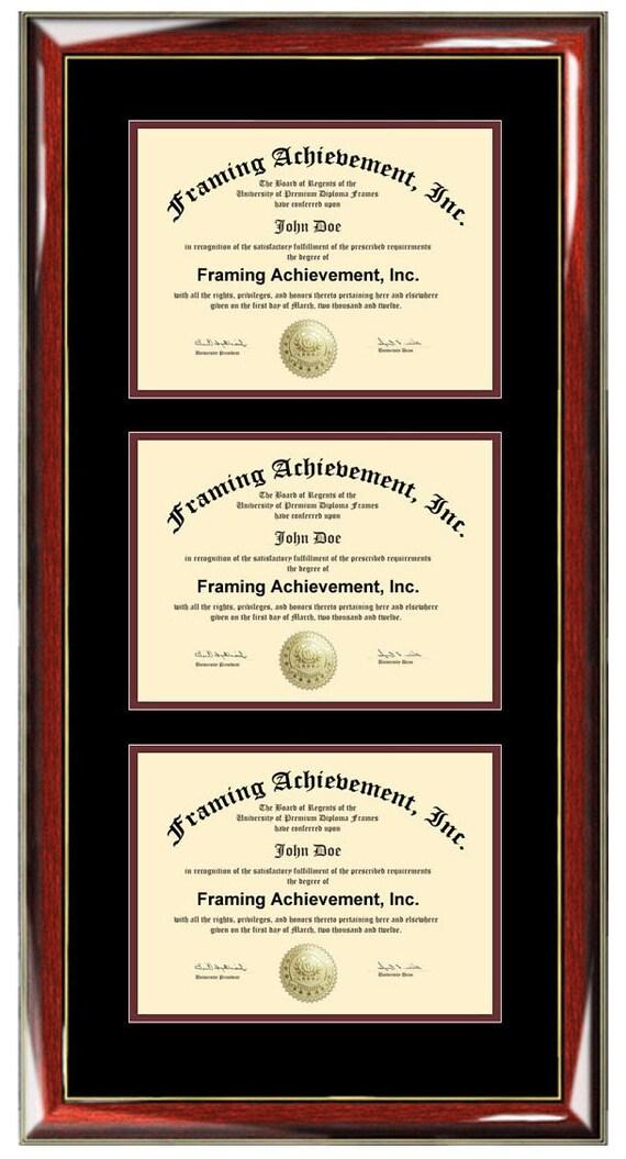Triple Diplom Frame Zertifikat Frames Universitätshochschule   Etsy