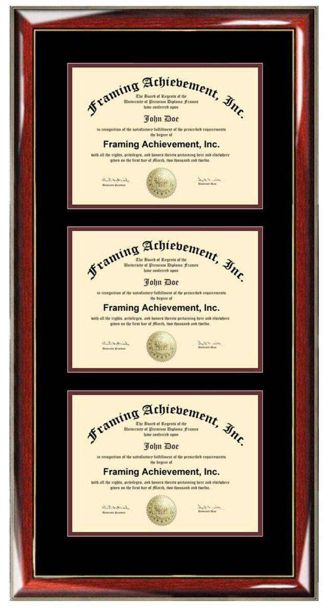 Triple Diploma Frame Certificate Frames University College | Etsy