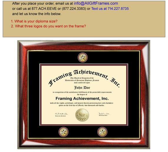 University diploma frames college degree triple medallion seal | Etsy