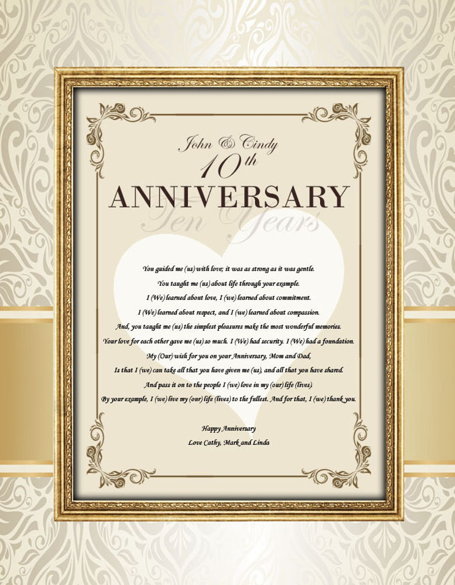 personalized parents anniversary gift poem 11x14 unframed