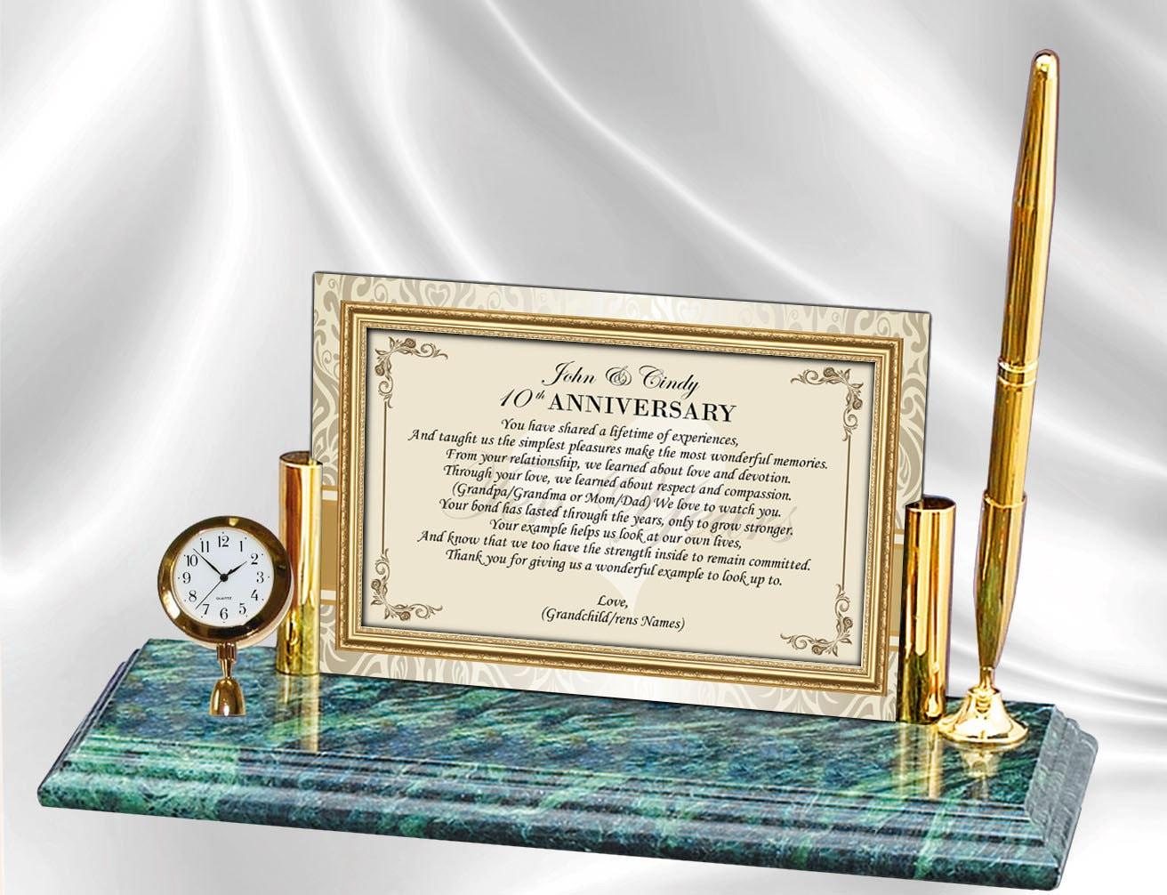 Eltern die Hochzeit Jahrestag Poesie Mini Uhr echtem Marmor | Etsy