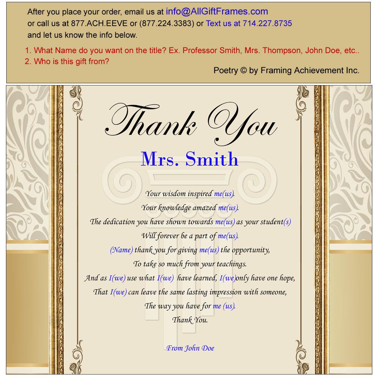 Teacher Thank You Gift Present Walnut Plaque Mentor Educator