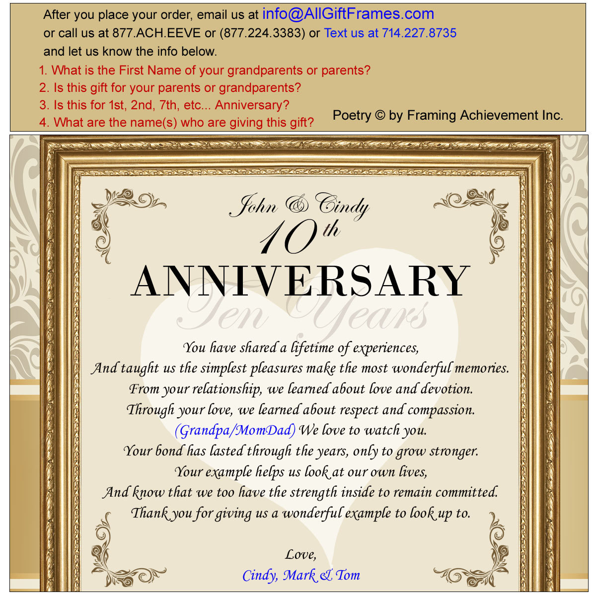 Parents Anniversary Poems From Daughter: Personalized Anniversary Gift For Parents Poetry Plaque