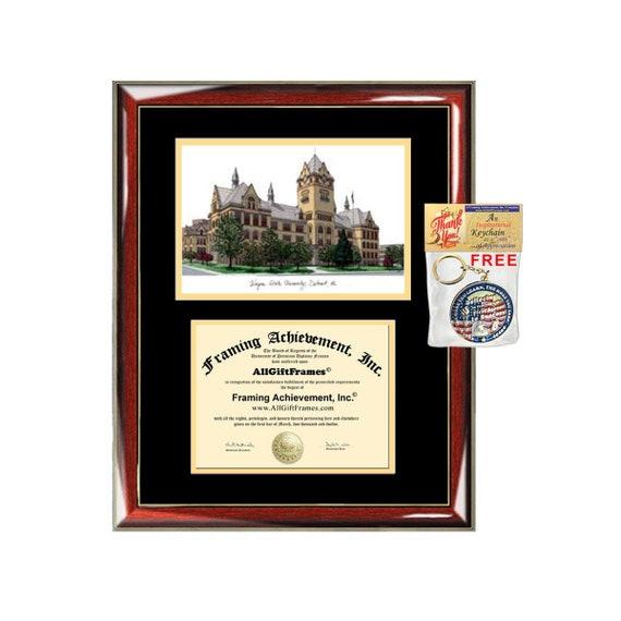 Wayne State University Diploma Frames Lithograph Frame Wsu Etsy