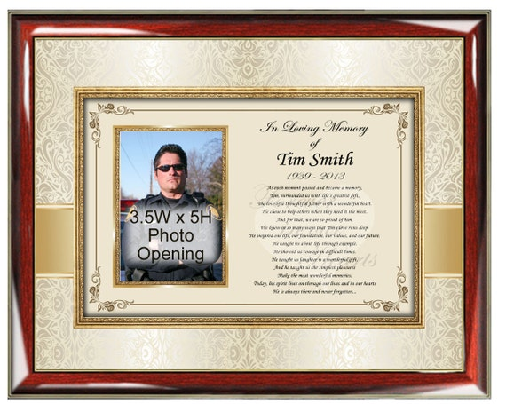 Sympathy Memorial Poetry Frame Personalized Picture Frame | Etsy